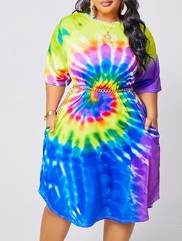 Fashion Tie Dye Plus Size Short Sleeve Dress