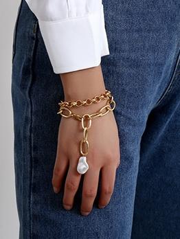 Punk Style Faux Pearl Pendant Thick Chain Women Bracelet