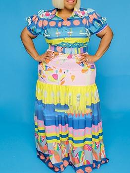 Plus Size Colorful Print Short Sleeve Long Maxi Dress