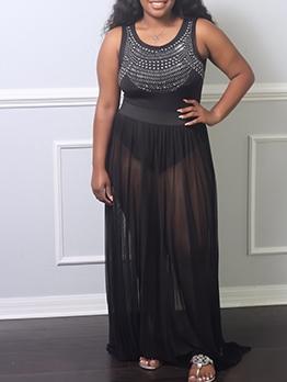 Rhinestone Design Romper With Gauze Maxi Skirt