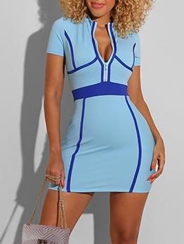 Zipper Contrast Color Short Sleeve Bodycon Dress