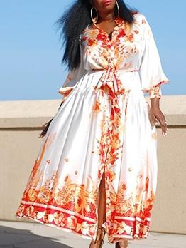 Vintage Print Long Sleeve Plus Size Shirt Dress