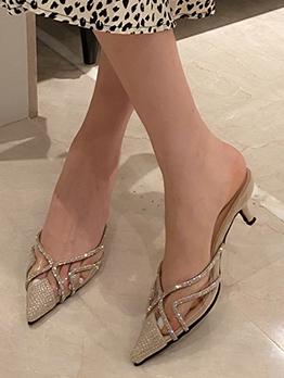 Pointed Toe Rhinestone Heeled Womens Slippers