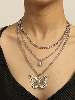 Hollow Out Butterfly Small Lock Three Layers Chain Necklace