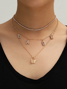 BABE Letter Rhinestone Butterfly Multi-Layered Necklace