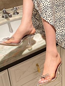 Clear Rhinestone Bow Pointed Toe High Heels