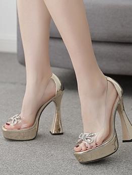 Goblet Heel Clear Rhinestone Bow Platform Sandals