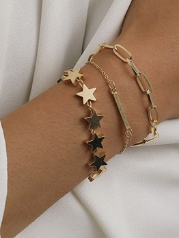 Daily Accessories Pentagram Thick Chain Bracelet Sets