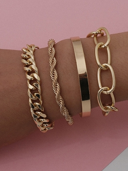New Arrival Metallic Color Thick Chain Bracelet Sets