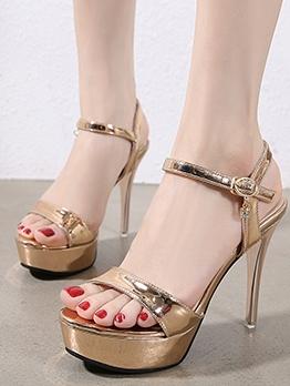 Stylish Solid High Heel Platform Sandals