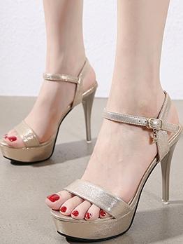 New Style Solid Stiletto Heels Platform Sandals