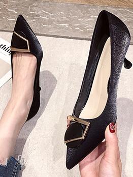 Pointed Toe Patchwork Women Kitten Heels