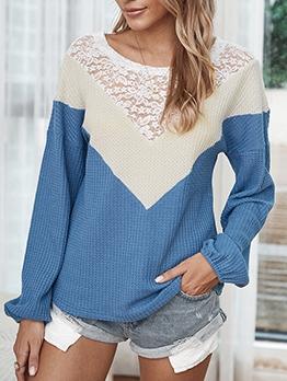 Contrast Color Lace Patch Women Sweatshirt