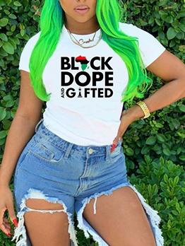 Summer Letter Crew Neck T Shirts For Women