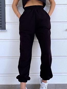 Plain Black Elastic Waist Female Jogger Pants
