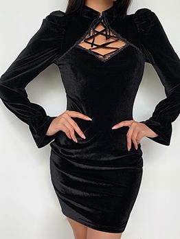 Vintage Lace-Up Velvet Cheongsam Black Dress