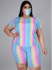 Striped Short Sleeve Plus Size Women Set Without Mask