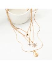 Shiny Rhinestone Star Pendant 4 Layers Chain Necklace