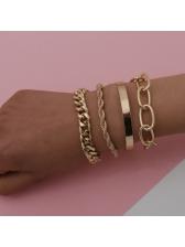 New Arrival Metallic Color Thick Chain Bracelet Sets