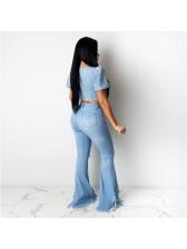 Trendy Tassel Hem Ripped Bootcut Jeans