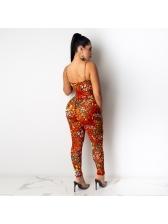Printed Spaghetti Strap Bodysuit Two Piece Pants Set