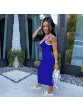 Contrast Trim Deep U Neck Sleeveless Maxi Dress