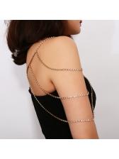 Tassel Faux Gemstone Metal Layered Clothing Chain