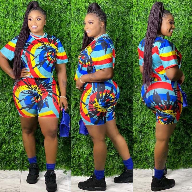 Plus Size Tie Dye Women Shorts Set For Summer