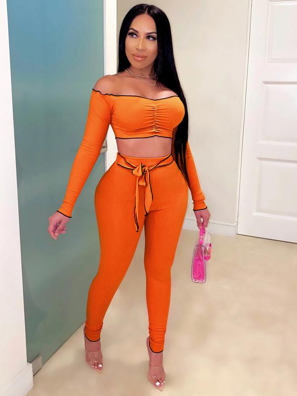 Off Shoulder Solid Crop Top And Skinny Pants Set