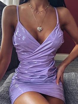 Deep V Neck Purple Sleeveless Pu Dress