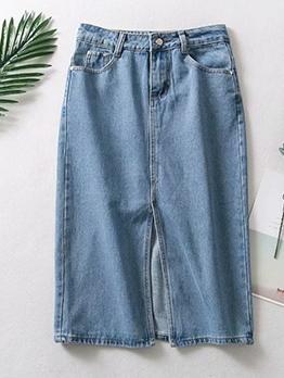 Front Split Knee Length Summer Denim Skirt