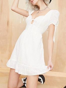 Vintage Style Puff Sleeve White Short Dress