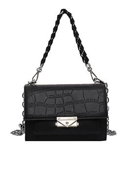 Stone Grain Chain Patchwork Belt Shoulder Bag