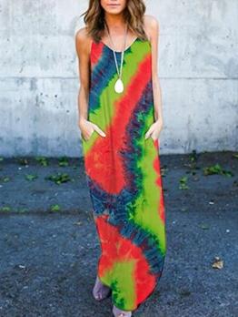 Fashion Tie Dye Sleeveless Summer Maxi Dresses