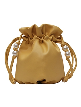 Drawstring Draped Faux Pearl Solid Color Bucket Bags