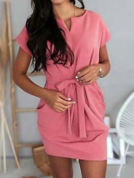 Tie Wrap Pockets Short Sleeve Casual Dresses