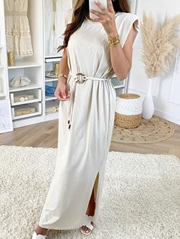 Split Hem Sleeveless Maxi Dress With Belt