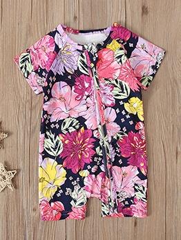 Summer Short Sleeve Flower Zipper Romper For Baby