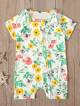 Flower Print Short Sleeve Summer Newborn Romper