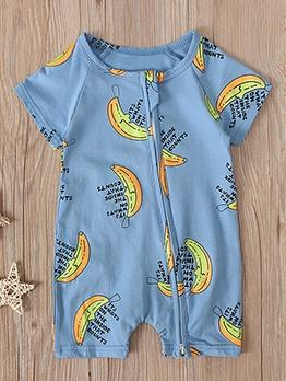 Banana Print Blue Zipper Boys Rompers