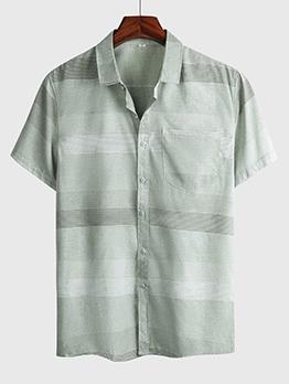 Casual Striped Short Sleeve Button Down Shirt