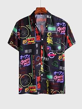 Fashion Neon Print Short Sleeve Shirts For Men