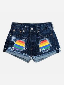 Fashion Rainbow Patchwork Denim Shorts