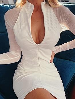 Gauze Patchwork Stand Collar Long Sleeve Dress