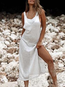 Summer Beach Solid Perspective Sexy Sleeveless Dress