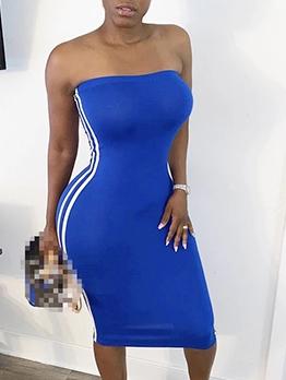 Side Stripes Knee Length Strapless Bodycon Dress