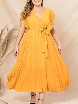 Bohemian V Neck Ruffle Sleeve Solid Maxi Dresses