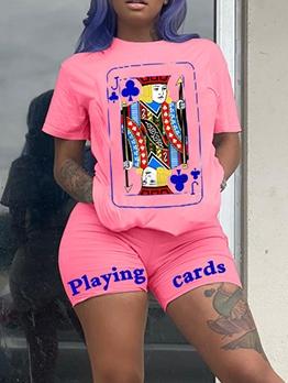 Poker Print Leisure Two Piece Short Set