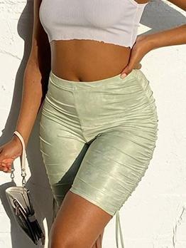 Mid Waist Skinny Drawstring Short Pants