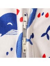 Cartoon Whale Print White Zipper Up Newborn Romper